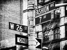 Signpost, Fashion Ave, Manhattan, New York City, United States, Black and White Photography Fotografie-Druck von Philippe Hugonnard bei AllPosters.de