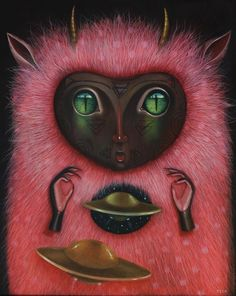 """""""Universal Mother"""" Oil on canvas Framed (wood) for """"Greetings From The OtherSide"""" show at @strangerfactory GALLERY Interested write to strangerfactorygallery@gmail.com #peca #pecaart #strangerfactory #oilpainting #leopardbird #ufo #greetingsfromtheotherside #orion #artoftheday #artininstagram #repost #hifructose #juxtapoz #beautifulbizarre #leopard #bird #newcontemporary #contemporaryartist #contemporarypainting #newcontemporaryart #artcollector #indianculture #tribalculture #hopidream…"""