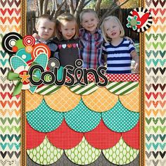 "Cute ""Cousins"" Scrapping Page...using overlapping circles.  By Kathy: Beautiful Skirts1308.  Picture only for inspiration."