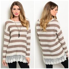 Striped Knit Sweater/Lace Hem Brown and white striped knit sweater with lace at the hem line which gives such a girly touch. Pair perfectly with leggings or jeans to stay cozy during the colder months. Size S Sweaters Crew & Scoop Necks