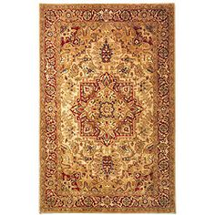 @Overstock - Hand-tufted traditional rug features a gold background and a red border Heriz area rug design accented by blue, burgundy, gold, green and ivory All-natural material makes this rug a perfect fit for any home decor stylehttp://www.overstock.com/Home-Garden/Handmade-Classic-Heriz-Gold-Red-Wool-Rug-83-x-11/3682459/product.html?CID=214117 $434.99