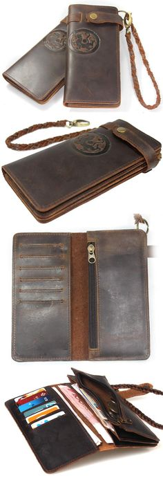 Tiger Totem - Vintage Leather Wallet This would be great for when I start traveling abroad for work. Multiple currencies and cards for each country.
