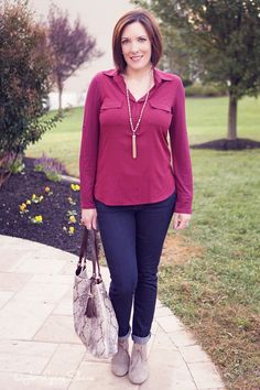 Fall Outfit Ideas for Women Over 40: Mixed Media Top + Skinny Jeans + Ankle…