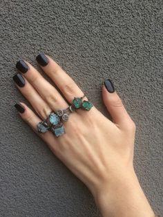 Rings rings rings #quartz #aquamarine and stackers by MetalRokJeweler