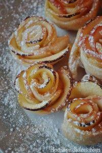 Pour la St Valentin, des roses feuilletées aux pommes (tartelettes aux pommes sublimées, avec ou sans gluten sans lait - PLV ou lactose)