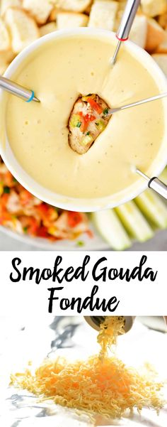 Smoked Gouda Fondue is the best cheesy appetizer! Dip in all of your favorite sa… Smoked Gouda Fondue is the best cheesy appetizer! Dip in all of your favorite savory foods. Or make it part of a fun dinner with cubed chicken and steak! Dips Für Fondue, Beer Cheese Fondue, Fondue Party, Cheese Fondue Recipes, Fondue Ideas, Best Cheese For Fondue, Appetizer Recipes, Fun Appetizers, Food Processor Recipes