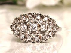 Vintage Engagement Ring 0.52ctw Diamond Cluster Ring Anniversary Ring Scalloped Diamond Wedding Ring 14K White Gold Size 8!
