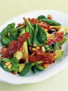 Jamie Oliver's Avocado, Pancetta and baby spinach salad. (Also nice with rocket)