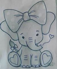 Little Toy Elephant pattern. Photos of the finished elephant is xoxograndma. Art Drawings Sketches Simple, Pencil Art Drawings, Art Drawings For Kids, Disney Drawings, Easy Drawings, Easy Animal Drawings, Drawing Drawing, Drawing Ideas, Applique Patterns