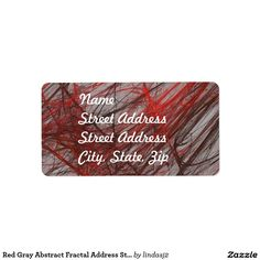 Red Gray Abstract Fractal Address Sticker