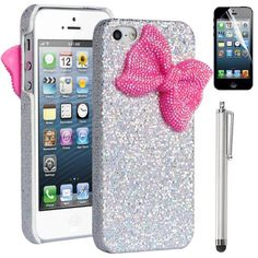 Pandamimi ULAK(TM) Sweety Grils Silver Bling Case Cover Decorated Cute Baby Pink Shining Butterfly Dreamlike Princess Style for iPhone 5 + Stylus + Screen Protector by ULAK, http://www.amazon.com/dp/B00CE5HW8W/ref=cm_sw_r_pi_dp_017Brb18AEERR