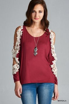 Cut-Out Lace Sleeved Blouse