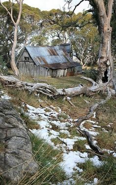 Another mountain hut for Molly and Nathaniel to shelter from the blizzard. This is actually Wallace Hut Falls Creek, Australia. Now used by hikers and cross country skiers for emergency shelter, it's not exactly the height of luxury. Australian Bush, Australian Sheds, Falls Creek, Victoria Australia, Old Farm, Country Life, Cross Country, Country Living, Abandoned Places