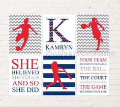 Softball, soccer, basketball,  girl athlete, pre teen art, gift for teen girl, sports wall art, inspirational art for girl, set of 6 Teen Wall Art, Teen Art, Softball, Basketball, Sports Wall, Childrens Room Decor, Gifts For Teens, Cute Photos, Athlete