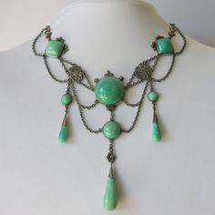 An Antique Sterling Silver and Aventurine Festoon Necklace.