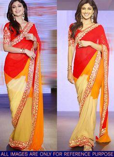 Bollywood Style Yellow Maroon Chiffon Saree