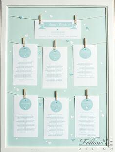 Tablica gości / Plan sali / Miętowe dekoracje ślubne od FollowMe DESIGN / Table plan / Mint Wedding Decorations & Details by FollowMe DESIGN