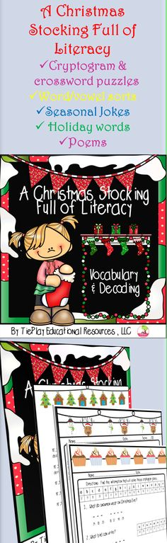 Price $7.00 Eggnog, charity, evergreen. Christmas Stockings Full of Literacy involves kid friendly learning tools for holiday sight words and phonics with cryptograms, seasonal jokes, word sorts, matching, crossword puzzles, poems and more.
