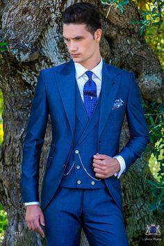 Italienisch royal blaue Anzug mit steigendes Revers, 2 Perlmutt-Knöpfe, Ticket Pocket und Seitenschlitze aus Mohair Wollmischung Alpaka Stoff. Bräutigam Anzug 1774 Kollektion Gentleman Ottavio Nuccio Gala.