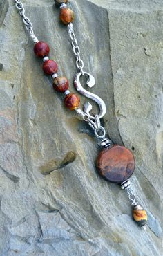 Long Jasper Beaded Necklace with Silver Natural by LKArtChic