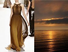 Monique Lhuillier Fall 2011 & Coffee sunset (author unknown). Collage by Liliya Hudyakova.