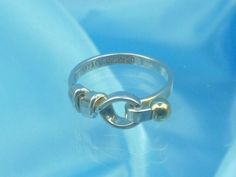 Unique Tiffany & Co. Sterling Silver and 18K Gold Hook and Eye Ring - Size 5 by Tiffanytreasureshop on Etsy
