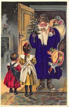 Rare Children Toys PURPLE Silk Suited Santa Claus Christmas Postcard #Christmas