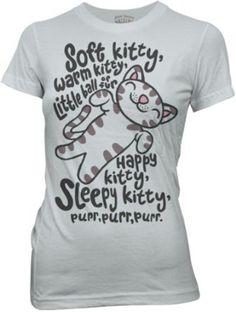 The Big Bang Theory Soft Kitty Warm Kitty Ice Grey Juniors T-Shirt $18.95