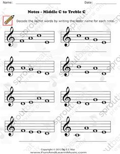 Treble Clef Middle C to Treble C