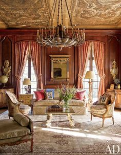 Brilliant living room in terracotta & cream by Architectural Digest