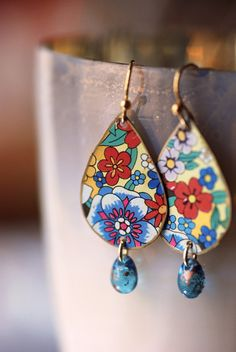 Vintage Tin Earrings Teardrop Boho Chic Recycled by EntwyneDesigns