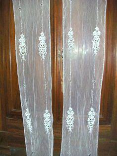 french ART NOUVEAU tambour lace door/window panels!!!!!!