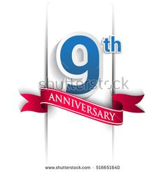 9 years anniversary logo, blue and red colored vector design on white background. template for Poster or brochure and invitation card.
