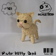 Cute Kitty Doll #103 String Doll / Voodoo Doll Doll Crafts, Cute Crafts, Yarn Crafts, Yarn Projects, Projects For Kids, Diy Yarn Dolls, String Voodoo Dolls, Kawaii Diy, Marionette