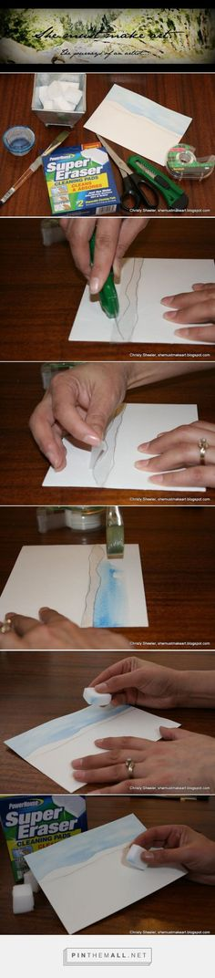 Pin now and read later. Using scotch tape and a magic eraser with watercolor paint. It really works! Handy watercolor tips and tricks to remember. Two watercolor techniques so easy to use. How to keep sky and land separate with scotch tape. Use magic eraser to lift color. Step by step tutorial in watercolor painting by Christy Sheeler at She Must Make Art: Watercolor Landscape & Sky: Scotch Tape and Magic Eraser. - created via http://pinthemall.net