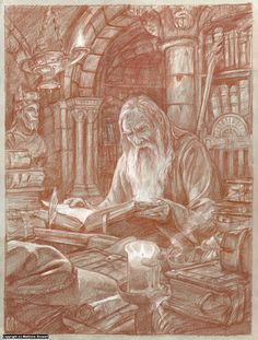 Gandalf in the Archives of Minas Tirith Artwork by Matthew Stewart