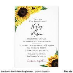 Sunflower Fields Wedding Invitation Burgundy Wedding Invitations, Sunflower Wedding Invitations, Country Wedding Invitations, Fall Wedding Invitations, Beautiful Wedding Invitations, Rustic Invitations, Wedding Invitation Cards, Invitation Design, Wedding Cards