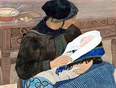 """""""Mère et enfant"""", d'Ernest Biéler (Bieler) (Swiss: 1863-1948)"""