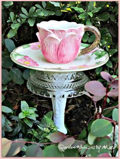 Desert Rose Teacup Bird Feeder Garden by GardenWhimsiesByMary, $37.00