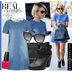 Get the look: Julianne Hough in denim dress, May 3 by sara-lafrench on Polyvore featuring Topshop, rag & bone, CÉLINE, Marc Jacobs, OPI, JULIANNE, ankle boots, suede ankle boots, top handle bags and denim dresses