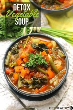 If you are trying to eat clean, this delicious, low-fat detox soup is the perfect healthy recipe for you. This rich and flavorful soup recipe is a great go-to snack, so make a big batch and eat healthy all week! #Detoxsoup