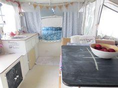Inside a renovated popup camper