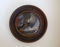 """19th Century Prattware Pot Lid, Staffordshire Pottery, """"Cat and Lobster"""", Original Frame, Antique Wall Plate"""