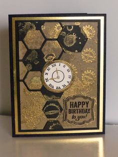 Stampin Along With Heidi: The May Wacky Watercooler Blog Hop - Clockworks, Label Love, Gorgeous Grunge stamps -  Hexagon Hivelits die, Chevron and Artisan Punches.  #black #gold #su
