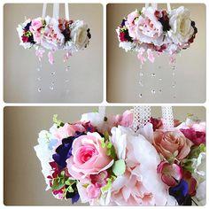 Spring wreath, Baby mobile, Flower mobile with genuine Swarovski crystals / Crib mobile, Nursery decor, Flower chandelier