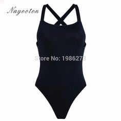 new solid simple design creative black white one piece swimsuit sexy swimwear halter Bodysuit Fashion Bathing Suit D061