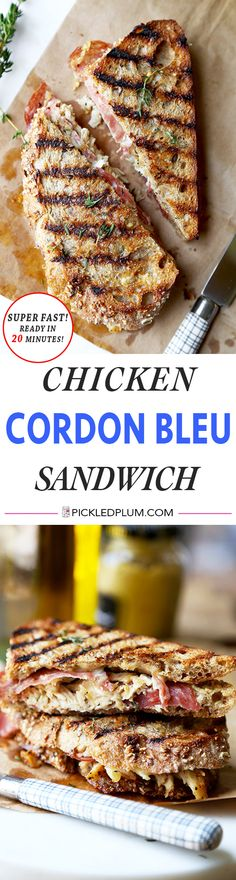 Chicken Cordon Bleu Sandwich - Gooey Gruyère, smoky salami & grilled chicken make this tasty sandwich a treat your family will love! recipe, sandwich, grilled cheese, lunch, brunch, healthier | pickledplum.com