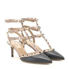 Valentino - Rockstud leather kitten-heel pumps - $995