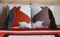 Simple Horse Throw Pillows - A Beautiful Mess blog. Great gift idea:) #pillows #DIY #ABeautifulMess