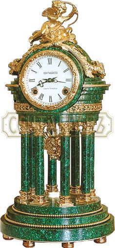 "Малахит.Watch ""Rotonda"" Bronze, gilding, malachite Height 400"
